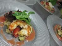 海老ホタテのソテー、クスクスとガスパッチョソース